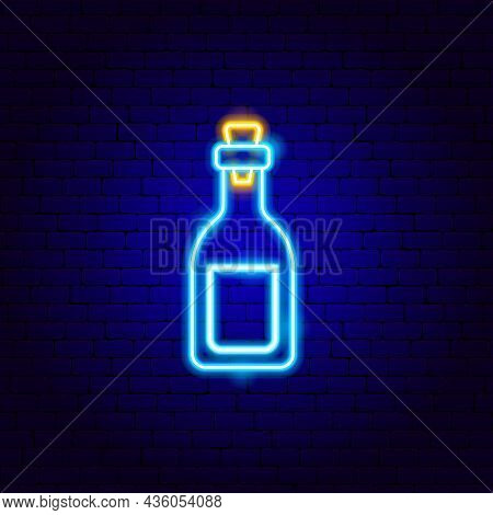 Vodka Neon Sign. Vector Illustration Of Ukraine Alcohol Promotion.