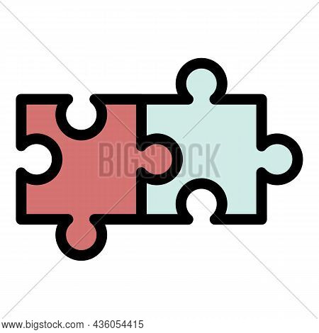 Two Connected Puzzles Icon. Outline Two Connected Puzzles Vector Icon Color Flat Isolated