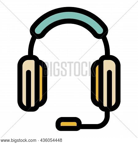 Headphones With Microphone Icon. Outline Headphones With Microphone Vector Icon Color Flat Isolated