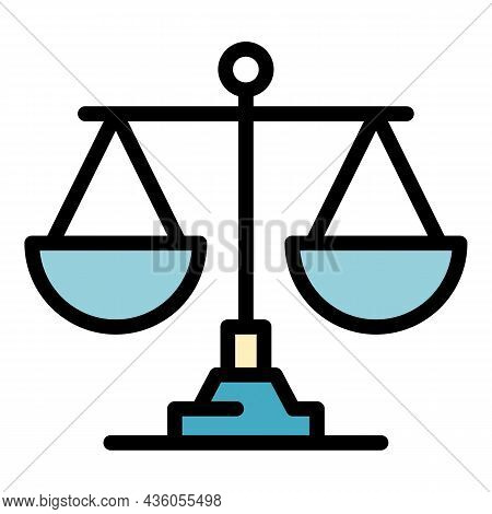 Scales Of Justice Icon. Outline Scales Of Justice Vector Icon Color Flat Isolated