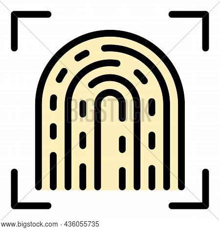 Fingerprint Examination Icon. Outline Fingerprint Examination Vector Icon Color Flat Isolated