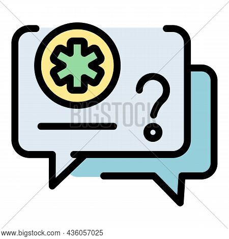 Chat Bubble Pharmacy Icon. Outline Chat Bubble Pharmacy Vector Icon Color Flat Isolated