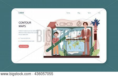 Geography Class Web Banner Or Landing Page. Students Learning