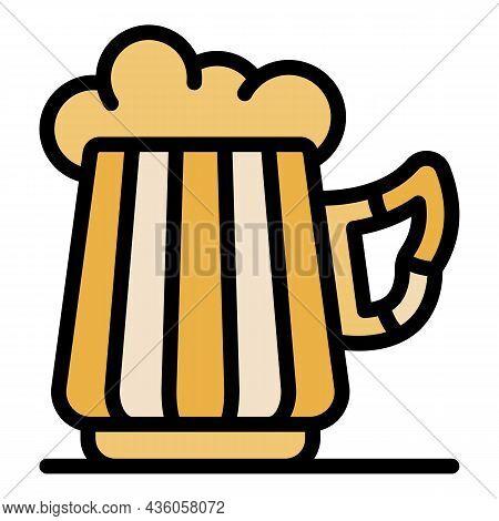 Big Mug Of Beer Icon. Outline Big Mug Of Beer Vector Icon Color Flat Isolated