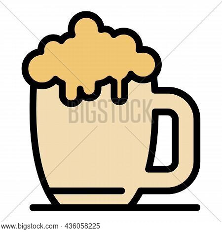 Mug Of Light Beer Icon. Outline Mug Of Light Beer Vector Icon Color Flat Isolated