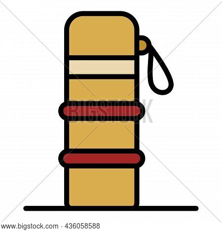 Portable Thermos Icon. Outline Portable Thermos Vector Icon Color Flat Isolated