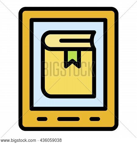 Ebook On Tablet Icon. Outline Ebook On Tablet Vector Icon Color Flat Isolated