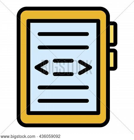 Electronic Reader Icon. Outline Electronic Reader Vector Icon Color Flat Isolated