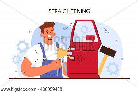Car Service. Automobile Got Fixed In Garage. Mechanic In Uniform