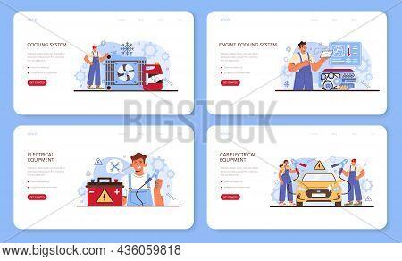 Car Repair Service Web Banner Or Landing Page Set. Automobile Cooling