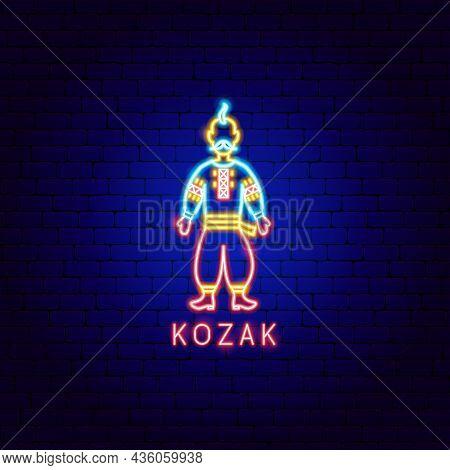Kozak Neon Label. Vector Illustration Of Ukraine Promotion.