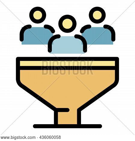 People In The Sales Funnel Icon. Outline People In The Sales Funnel Vector Icon Color Flat Isolated