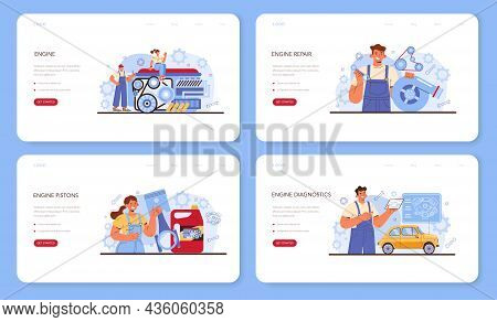 Car Repair Service Web Banner Or Landing Page Set. Automobile Engine Got Fixed