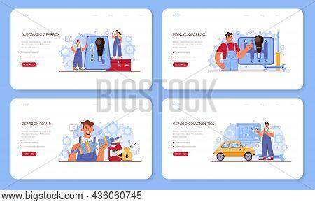 Car Repair Service Web Banner Or Landing Page Set. Automobile