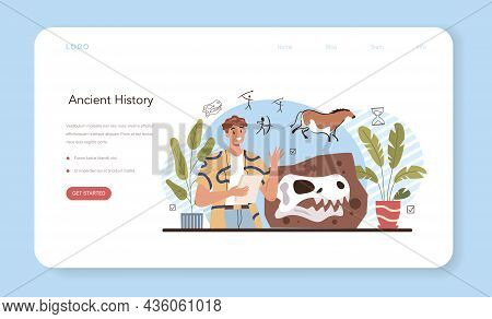 History Lesson Web Banner Or Landing Page. History School Subject