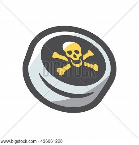 Pirate Black Label Skull And Bones Vector Icon Cartoon Illustration