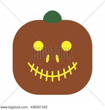 Original Smiling Pumpkin For Halloween Or Thanksgiving. Ancient Tradition. Pumpkin Fruit Head With F