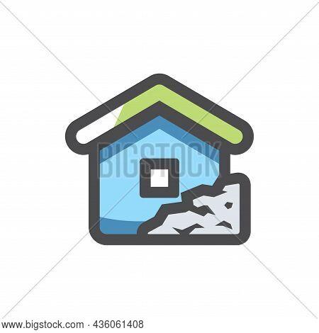 Landlide Home Earthquake Vector Icon Cartoon Illustration