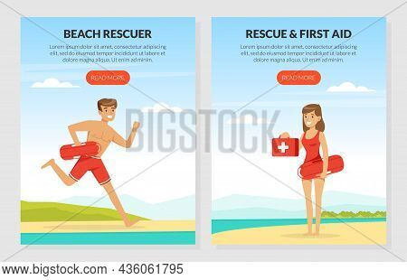 Young Man And Woman Lifeguard Supervising Safety Vector Illustration