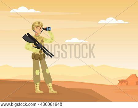 Man As Military Special Force In Uniform And Rifle Observing Territory In Binoculars Vector Illustra