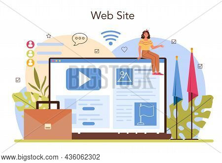 Politician Online Service Or Platform. Election And Democratic Governance