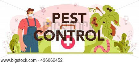 Pest Control Typographic Header. Wine Production Concept. Grape Tree Selection