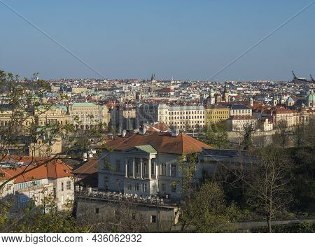 Scenic Aerial View Of Prague Old Town Architecture Roof Top Seen From Letna Hill Park, Spring Sunny