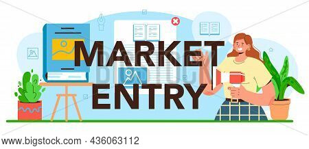 Market Entry Typographic Header. Publisher Working On Book,