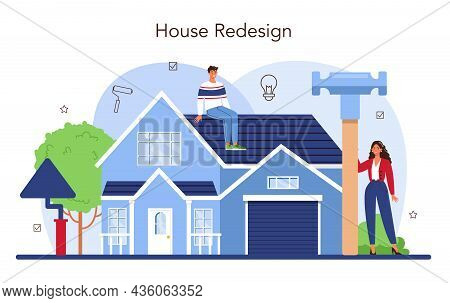 Real Estate Industry. House Remodeling Or Redesign After The Purchase.