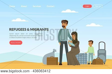 Refugee And Asylum Seeker With Displaced Family Needed Help And Home Vector Template