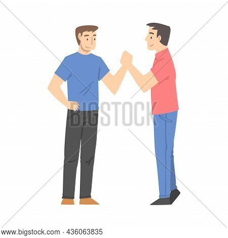 Man Character Shaking Hand As Brief Greeting Or Parting Tradition Vector Illustration