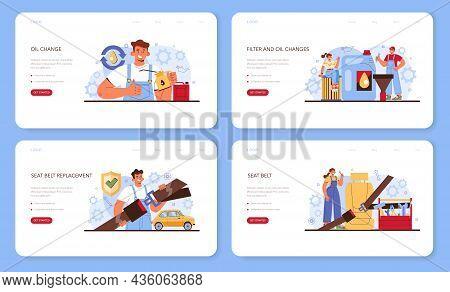 Car Repair Service Web Banner Or Landing Page Set. Automobile Components