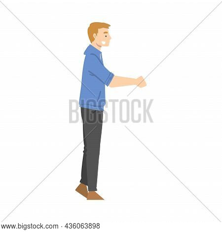 Smiling Man Shaking Hand As Brief Greeting Or Parting Tradition Vector Illustration