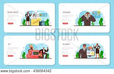 Spy Web Banner Or Landing Page Set. Secret Agent Or Fbi Investigating Crime