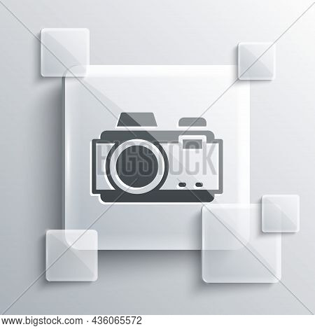 Grey Photo Camera Icon Isolated On Grey Background. Foto Camera. Digital Photography. Square Glass P