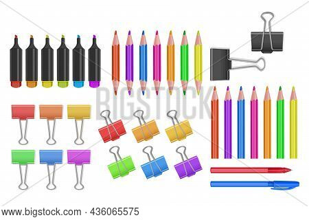 Vector School And Office Supplies Icon Set, Office Tools