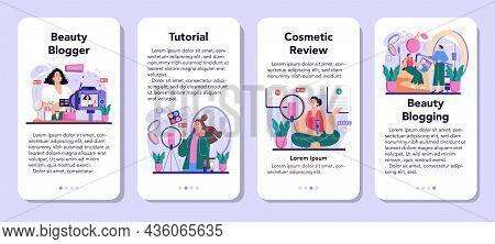 Beauty Blogger Mobile Application Banner Set. Internet Celebrity