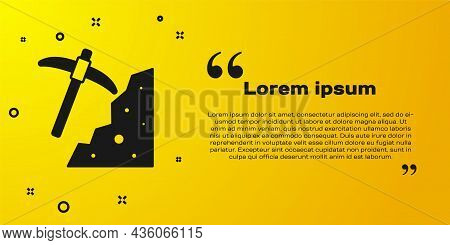 Black Pickaxe Icon Isolated On Yellow Background. Vector