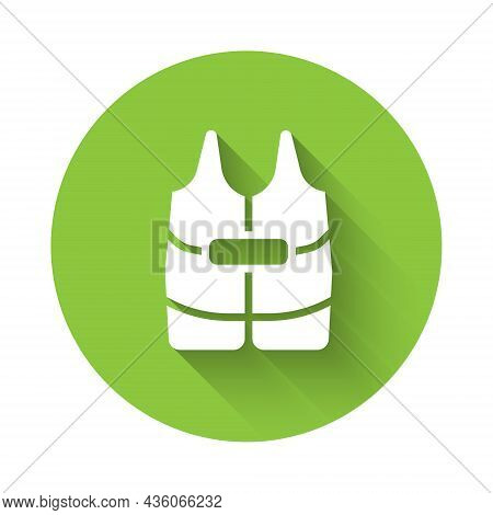 White Life Jacket Icon Isolated With Long Shadow Background. Life Vest Icon. Extreme Sport. Sport Eq