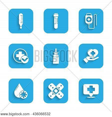 Set Bottle Nasal Spray, Crossed Bandage Plaster, Map Pointer With Cross Hospital, Heart, Blood Test