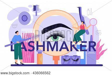 Lashmaker Typographic Header. Eyelash Extension, Eyelashes Volume