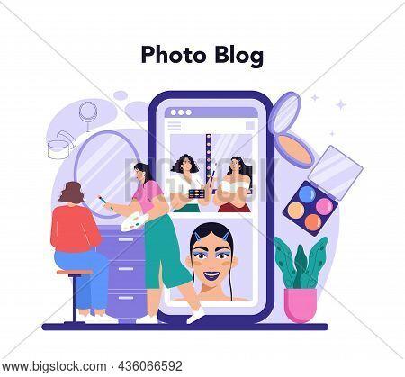 Make Up Artist Online Service Or Platform. Professional Artist Doing A Beauty
