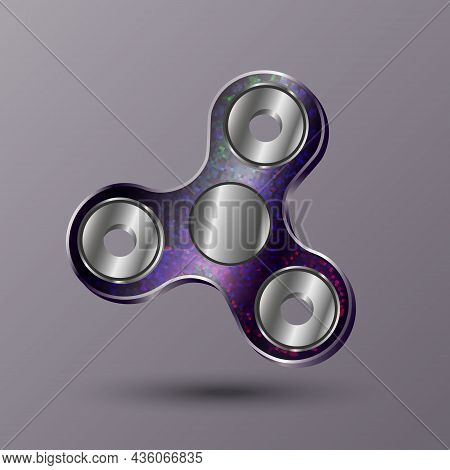 Vector Realistic Spinner Hand Toy Isolated. Spinning Toy Design