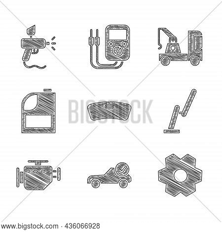 Set Windshield, Auto Service Check Automotive, Gear, Windscreen Wiper, Check Engine, Canister For Mo