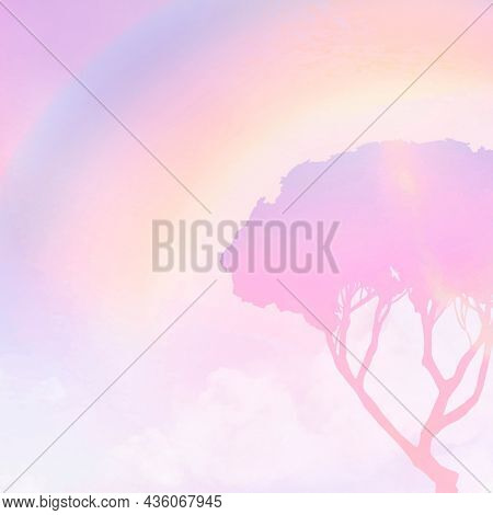 Pastel background with aesthetic pink gradient tree