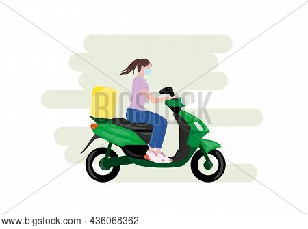 Fast Delivery Package Illustration. The Girl Ride On Bike So Fast As It Possible To Deliver The Orde