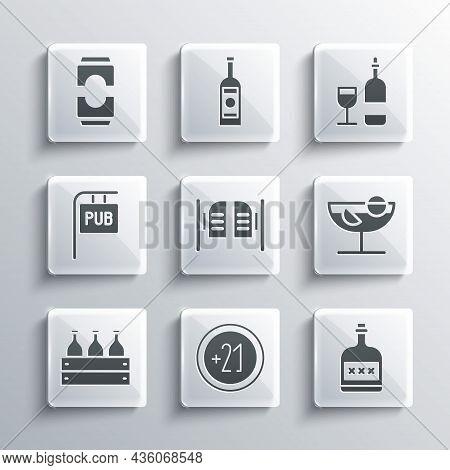 Set Alcohol 21 Plus, Drink Rum Bottle, Cocktail, Saloon Door, Bottles Of Wine Wooden Box, Street Sig