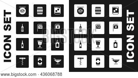 Set Glass Of Whiskey, Street Signboard With Pub, Bottle Vodka, Bar, Wooden Barrel, Whiskey And Beer