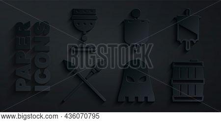 Set Executioner Mask, Medieval Flag, Crossed Medieval Spears, Wooden Barrel, And Goblet Icon. Vector