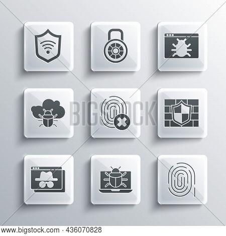 Set System Bug On Monitor, Fingerprint, Shield With Brick Wall, Cancelled Fingerprint, Browser Incog